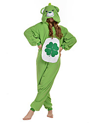cheap -Kigurumi Pajamas Bear Onesie Pajamas Costume Polar Fleece Green Cosplay For Adults' Animal Sleepwear Cartoon Halloween Festival / Holiday