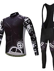 preiswerte -Fahrradtrikot mit Trägerhosen Herrn Langarm Fahhrad Kleidungs-Sets Rasche Trocknung YKK Reißverschluss 3D Pad Polyester Vlies LYCRA®