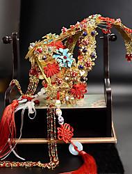 Tulle Chiffon Fabric Plastic Alloy Headpiece-Wedding Tiaras 1 Piece