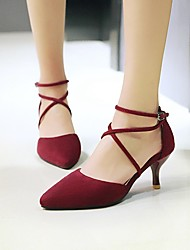 Women's Shoes Nubuck leather Spring Summer Basic Pump Heels Kitten Heel Pointed Toe For Casual Black Gray Red