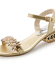 cheap -Women's Shoes PU Summer Comfort Sandals Walking Shoes Low Heel Open Toe Rhinestone For Casual Gold Black Silver