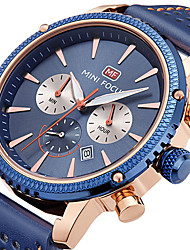 cheap -MINI FOCUS Men's Quartz Wrist Watch Japanese Calendar / date / day Casual Watch Stopwatch Genuine Leather Band Casual Minimalist Cool