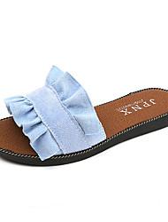 Damer Sko PU Forår Sommer Komfort Sandaler Flad hæl Åben Tå Nitte Til Afslappet Formelt Hvid Sort Blå Lys pink