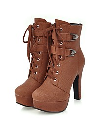 Women's Boots Combat Boots Fall Winter Leatherette Casual Party & Evening Lace-up Chunky Heel Black Beige Yellow Brown 4in-4 3/4in