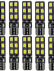 10PCS 2.4W white DC12v T10 12led 2835SMD led Auto Lamps Car Instrument Light Decorative Lamp Reading Light License Plate Light Door Lamp