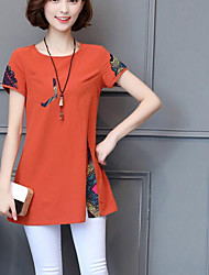 cheap -Women's Daily Casual Shirt,Print Round Neck Short Sleeves Linen Others