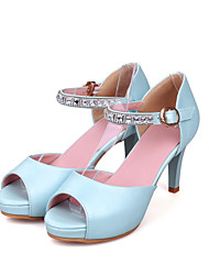 Women's Sandals Basic Pump Summer PU Wedding Dress Party & Evening Office & Career Buckle Chunky Heel White Blushing Pink Light Blue