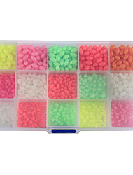 cheap -Anmuka 1500Pcs/Box Oval Mixed Size 6 Colors Luminous Fishing Beads Floating Plastic Fishing Beads Fishing Tackle
