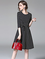 cheap -EWUS Women's Daily Going out Street chic Sheath Dress,Striped Round Neck Knee-length Half Sleeves Cotton Summer Fall Mid Rise Inelastic Thin