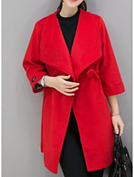 cheap -Women's Daily Simple Casual Winter Fall Coat,Solid Shawl Lapel Long Sleeve Long Polyester Others