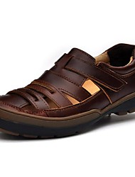 cheap -Men's Sandals Comfort Summer Fall Nappa Leather Water Shoes Casual Outdoor Dress Flat Heel Brown Black Flat
