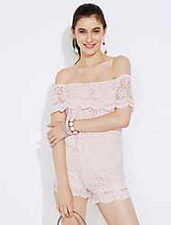 cheap -Women's Daily / Club Street chic Romper - Color Block, Lace / Backless High Rise Boat Neck / Summer / Fall