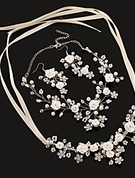 cheap -Tulle Imitation Pearl Rhinestone Plastic Alloy Headbands Flowers Head Chain 1 Wedding Birthday Party / Evening Headpiece