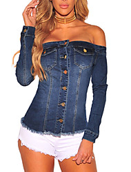 Women's Going out Casual/Daily Sexy Simple Street chic Spring Fall T-shirtSolid Boat Neck Long Sleeve Denim Backless All Match Classic Medium