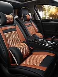 The New Car Seat Cushion Leather Seat Cover Four Seasons General Ice All Around Five Seats To 2 Seat Headrest Backrest Orange