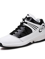 Da uomo scarpe da ginnastica Comoda Primavera Autunno PU (Poliuretano) Basket Lacci Piatto Rosso Blu Bianco/nero Piatto