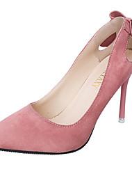 billige -Dame Sko Kashmir Forår Komfort Hæle Gang Stilethæle Spidstå Rosette for Afslappet Sort Grå Lys pink Mandel