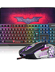 cheap -MK70 USB Wired LED Rainbow Backlit Gaming Keyboard and Mouse Combo with Cool Big Size Gaming MousePad