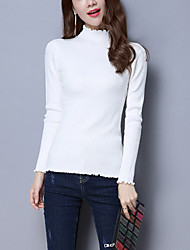 cheap -Women's Daily Going out Casual Street chic Regular Pullover,Solid Turtleneck Long Sleeves Wool Acrylic Winter Fall Medium Stretchy