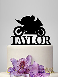 Personalized Acrylic Motorcycle Pattern Wedding Cake Topper