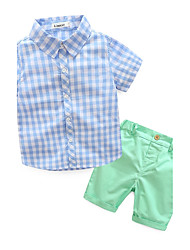 Boys' Others Clothing Set,Cotton Summer Short Sleeve Check Blue Green