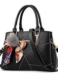 cheap -Women's Bags PU Tote Zipper for Casual Office & Career Outdoor All Seasons White Black Red Blushing Pink Navy Blue