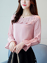 Women's Going out Work Cute Street chic Spring Fall Slim Lace Blouse Embroidery Round Neck Long Sleeve Flare Sleeve Pink White Medium