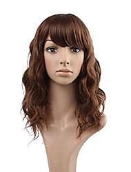 cheap -Elegant Big Water Wave Auburn Chestnut Brown Human Hair Lace Wigs Glueless Full Lace With Bangs Wigs