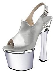 Femme Sandales Chaussures formelles Polyuréthane Eté Habillé Soirée & Evénement Boucle Talon Bobine Argent 12 cm & plus