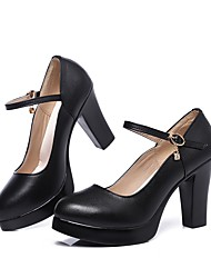 Women's Heels Basic Pump Spring Fall Real Leather Party & Evening Dress Rhinestone Buckle Platform Black 2in-2 3/4in