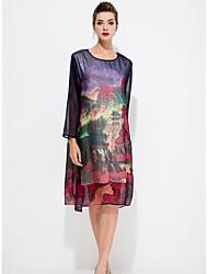 abordables -Femme Grandes Tailles Travail Chinoiserie Balançoire Robe Fleur
