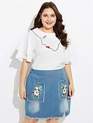 abordables -Mujer Camiseta - Un Color, Estampado Falda
