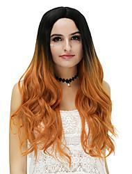 preiswerte -Damen Synthetische Perücken Kappenlos Lang Wellig Blau Copper Brown Rose / Grün Silber Lila Gold Pink Gefärbte Haarspitzen (Ombré Hair)
