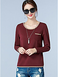 Women's Casual/Daily Simple T-shirt,Solid Round Neck Long Sleeves Cotton