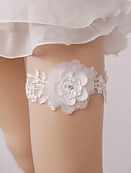baratos -Renda Casamento Wedding Garter Com Pérolas Sintéticas / Floral Ligas