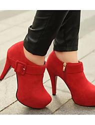 preiswerte -Damen Schuhe Echtes Leder PU Herbst Winter Komfort Pumps High Heels Für Normal Schwarz Rot Burgund