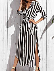 Women's Party Casual/Daily Sexy Loose Dress,Striped V Neck Maxi Long Sleeves Cotton Summer Fall Mid Rise Inelastic Thin