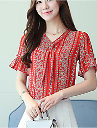 cheap -Women's Daily Casual Blouse,Print V Neck Short Sleeves Others