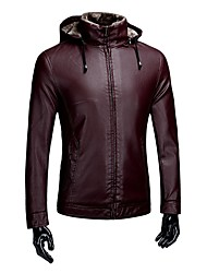 Men's Daily Vintage Winter Fall Leather Jacket,Solid Hooded Long Sleeve Regular PU