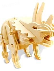 Недорогие -3D пазлы Наборы для моделирования Тиранозавр Динозавр со звуковым датчиком Электрический деревянный Детские Мальчики Игрушки Подарок