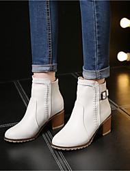 abordables -Femme Chaussures Polyuréthane Automne / Hiver boîtes de Combat Bottes Talon Bottier Bottine / Demi Botte Beige / Rose