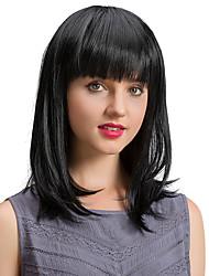 Недорогие -Новые удобные черные длинные человеческие волосы парики для женщин