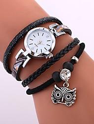Brand Women Casual Wristwatches Leather Braided Owl Pendant Handmade Bracelet Clock Ladies Quartz Strap Watch