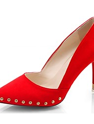 preiswerte -Damen High Heels Pumps Sommer Kaschmir Kleid Niete Stöckelabsatz Schwarz Rot 7,5 - 9,5 cm