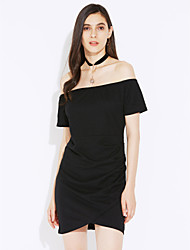 cheap -Women's Daily Wear Chic & Modern Bodycon Dress,Solid Color Boat Neck Above Knee, Mini Short Sleeves Polyester Summer Fall Mid Rise