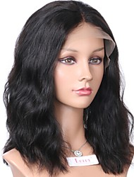cheap -Remy Human Hair Lace Front Wig Wig Brazilian Hair Wavy / Natural Wave Bob Haircut / Short Bob / Middle Part 130% Density With Baby Hair / Natural Hairline / African American Wig Natural Women's 8-14