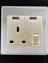 Недорогие -Электрические розетки Нержавеющая сталь С выходом USB-зарядного устройства 8*8*4
