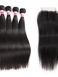 Ciocche a onde capelli veri Brasiliano Lisci 1 anno 5 pezzi tesse capelli kg Onde