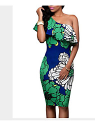 Women's Going out Casual/Daily Work Sexy Cute Street chic A Line Bodycon Sheath Dress,Solid Floral Geometric One Shoulder Above Knee