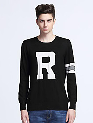 cheap -Men's Daily Regular Pullover,Solid Print Round Neck Long Sleeves Wool Others Winter Fall Medium Micro-elastic